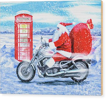 Wood Print featuring the mixed media Father Christmas Has A New Bike by Mark Tisdale