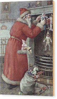 Father Christmas Wood Print by Karl Roger