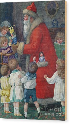 Father Christmas With Children Wood Print by Karl Roger