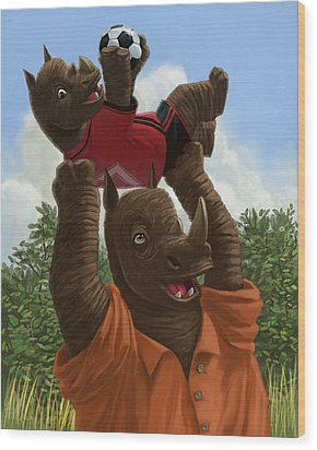 father Rhino with son Wood Print by Martin Davey
