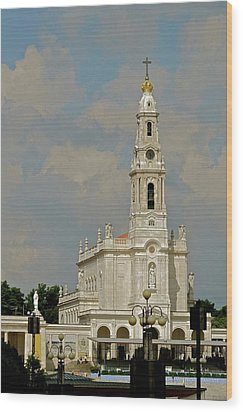 Fatima Cathedral Wood Print by Kirsten Giving