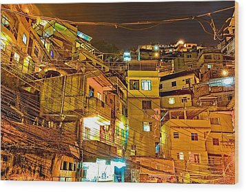 Wood Print featuring the photograph Favela Night by Kim Wilson