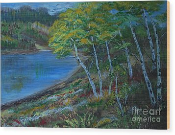 Wood Print featuring the painting Favorite Fishin' Hole by Leslie Allen