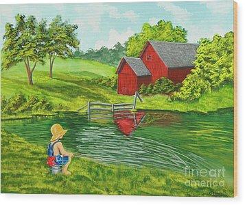 Favorite Fishing Hole Wood Print by Charlotte Blanchard