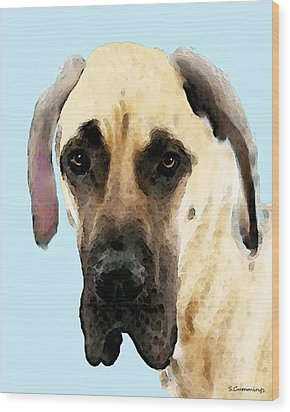Fawn Great Dane Dog Art Painting Wood Print by Sharon Cummings