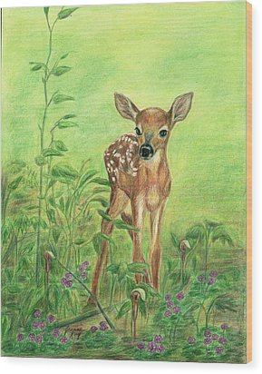 Wood Print featuring the painting Fawn by Jeanne Kay Juhos