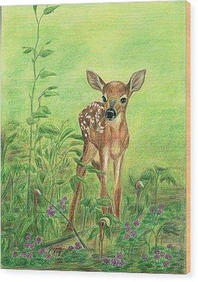 Fawn Wood Print by Jeanne Kay Juhos