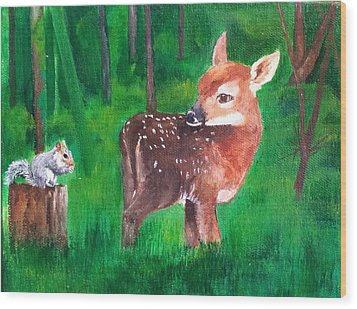 Fawn With Squirrel Wood Print