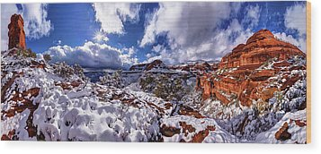 Wood Print featuring the photograph Fay Canyon Snowfall 1 by ABeautifulSky Photography