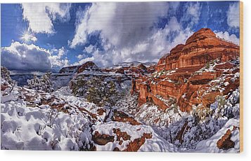 Wood Print featuring the photograph Fay Canyon Snowfall 2 by ABeautifulSky Photography