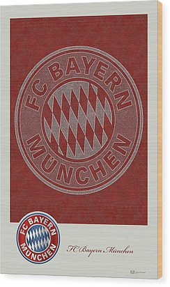 Fc Bayern Munich Logo And 3d Badge Wood Print