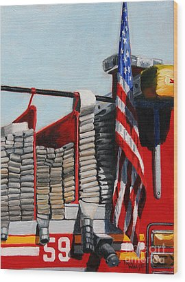 Fdny Engine 59 American Flag Wood Print by Paul Walsh