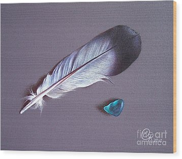 Feather And Sea Glass 1 Wood Print by Elena Kolotusha