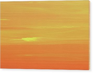 Feather Cloud In An Orange Sky  Wood Print