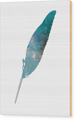 Feather Silhouette Blue Poster Wood Print