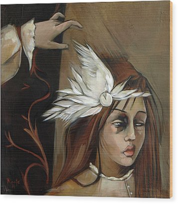 Feathers On Broken Girl Wood Print