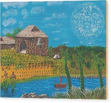February  Mayan Farm Wood Print