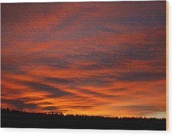 February Sunrise On The Ridge Wood Print