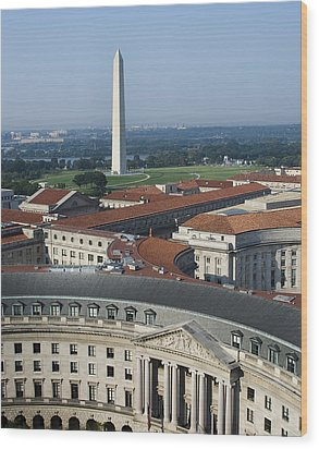 Federal Buildings - The Washington Monument And The National Mall - Washington Dc Wood Print by Brendan Reals