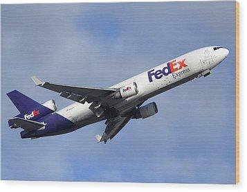 Fedex Mcdonnell-douglas Md-11f N605fe Phoenix Sky Harbor December 23 2010 Wood Print