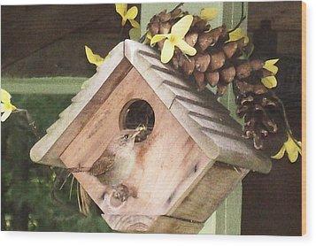 Wood Print featuring the digital art Feeding Birds by Barbara S Nickerson