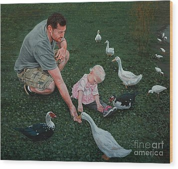 Feeding Ducks With Daddy Wood Print by Michael Nowak