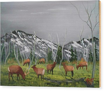 Wood Print featuring the painting Feeding Elk by Al Johannessen