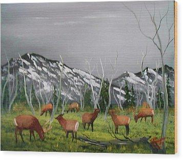 Feeding Elk Wood Print by Al Johannessen