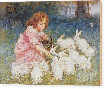 Feeding The Rabbits Wood Print