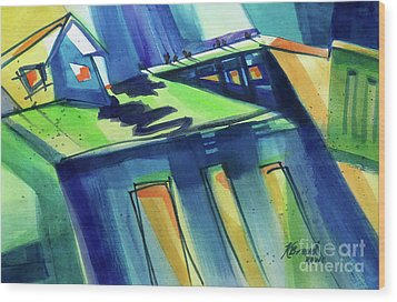 Wood Print featuring the painting Feedmill In Blue And Green by Kathy Braud