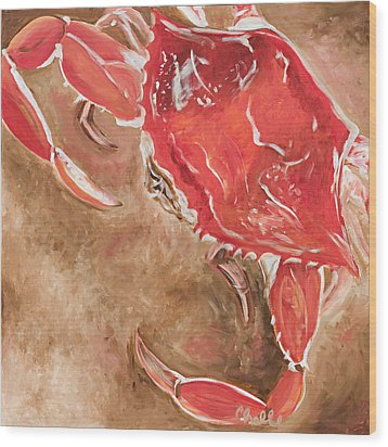 Feelin' Crabby Wood Print by Chelle Fazal