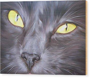 Wood Print featuring the painting Feline Face 1 by Elena Kolotusha