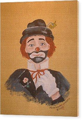 Felix The Clown Wood Print by Arlene  Wright-Correll