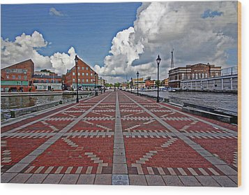 Fells Point Pier Wood Print by Suzanne Stout
