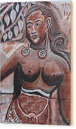 Wood Print featuring the painting Femail Figure by Anand Swaroop Manchiraju