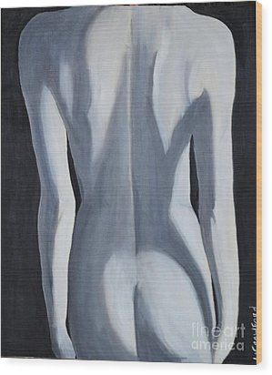 Wood Print featuring the painting female Black and White by Lori Jacobus-Crawford