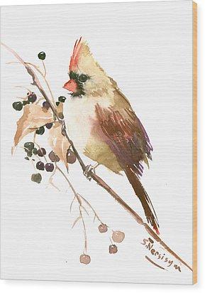 Female Cardinal Bird Wood Print