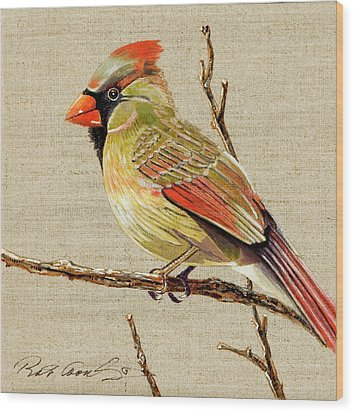 Wood Print featuring the painting Female Cardinal by Bob Coonts