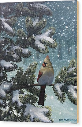 Female Cardinal Wood Print by Mark Mittlesteadt
