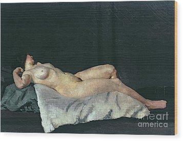 Female Figure Lying On Her Back Wood Print by Dora Carrington