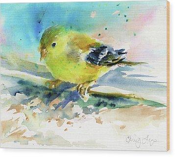 Female Goldfinch Wood Print by Christy Lemp