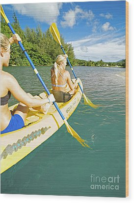 Female Kayakers Wood Print by Kicka Witte - Printscapes
