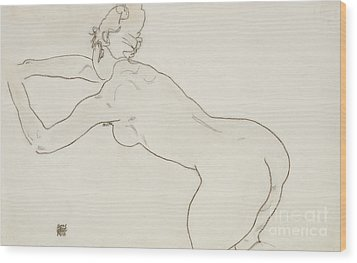 Female Nude Kneeling And Bending Forward To The Left Wood Print by Egon Schiele