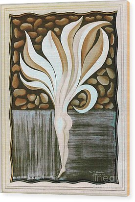 Wood Print featuring the painting Female Petal by Fei A