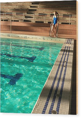 Female Swimmer At Poolside Wood Print by Utah Images