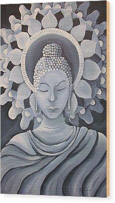 Feminine Buddha In A Peaceful Place Wood Print by Nicole Werth