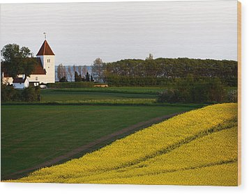 Femoe Fields And Church Wood Print by Eric Nielsen