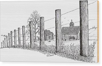 Wood Print featuring the drawing Fence Line 1 by Jack G  Brauer