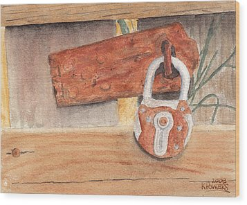 Fence Lock Wood Print by Ken Powers