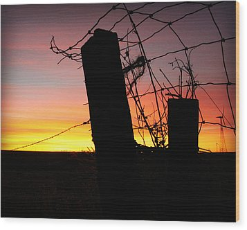 Fence Sunrise Wood Print by Kathy M Krause